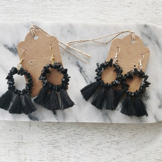 Black obsidian chip + cotton tassel hoops