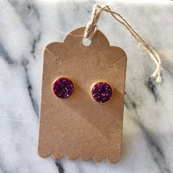12mm wine red faux druzy studs