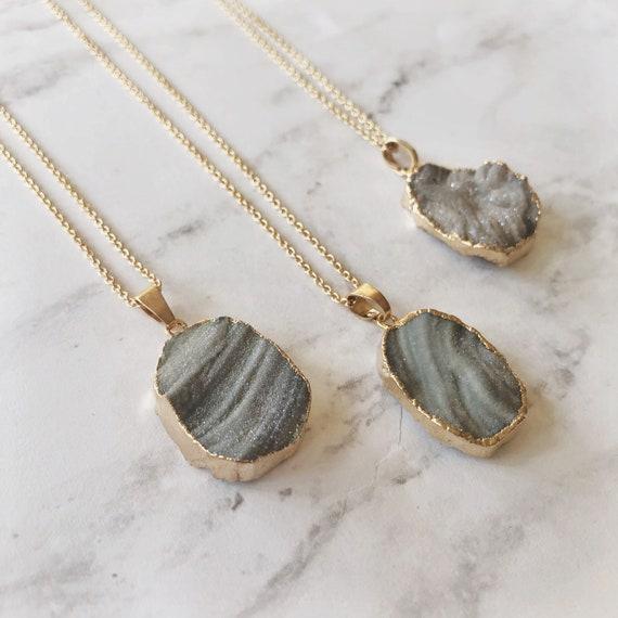 "Shimmer genuine druzy stone pendant (16"")"