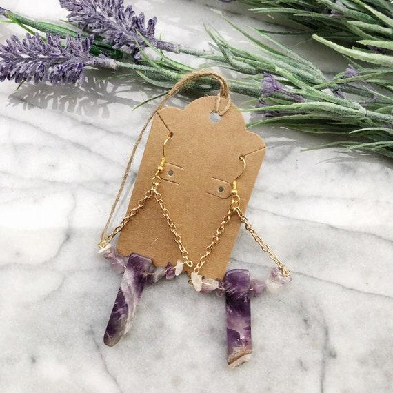 Amethyst stick chandelier earrings