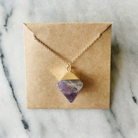"Purple + gold amethyst pendant (16"")"