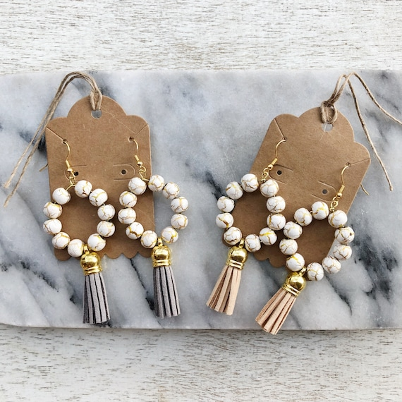 Gold crackle beaded + faux suede tassel earrings