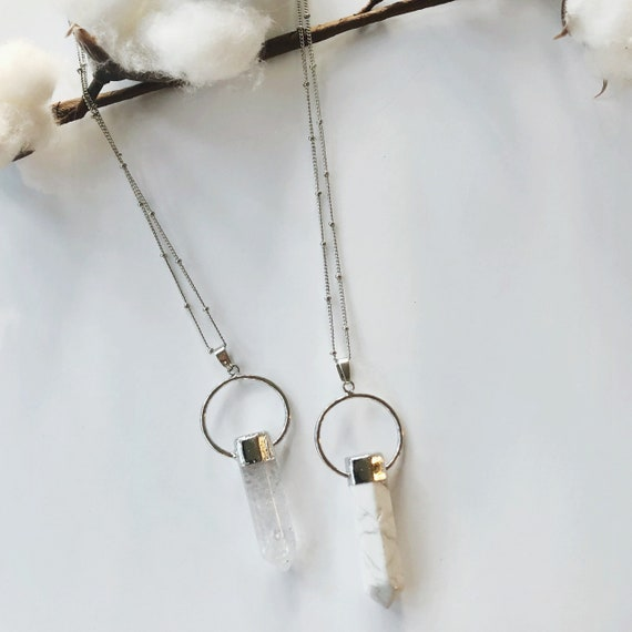 "Howlite OR Clear Quartz stone necklaces (30"")"