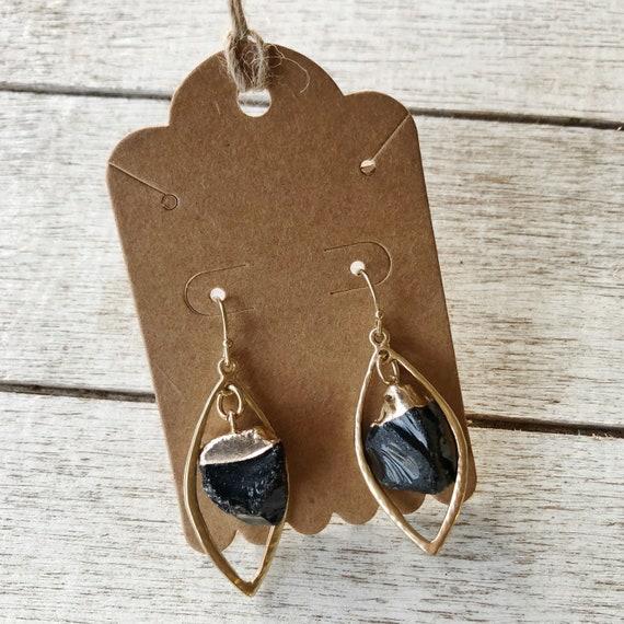 "Black obsidian ""strength"" leaf earrings"