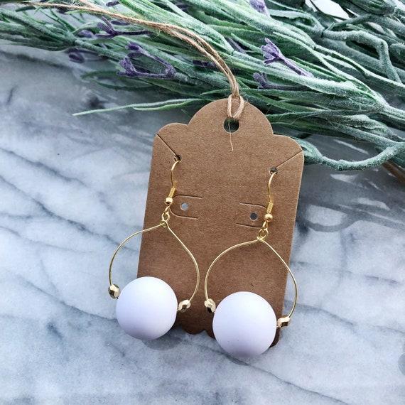 White sphere bead hoops