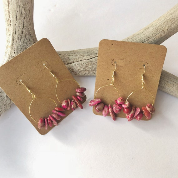 Pink jasper chip hoop earrings