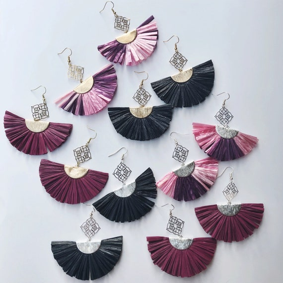 "Large raffia fan tassel earrings (3"")"