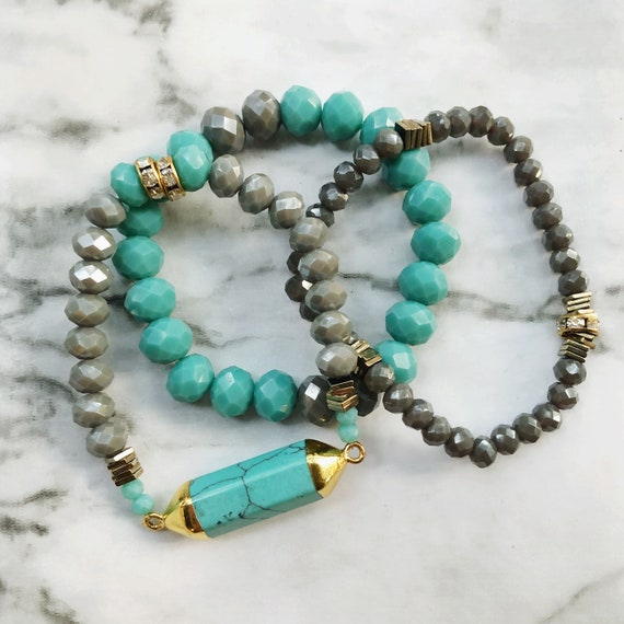 3pc beaded bracelet set- czech glass + turquoise bar 7""