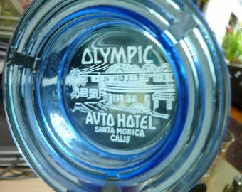 Rare 1930's Olympic Auto Hotel Santa Monica Calif. Etched Ashtray