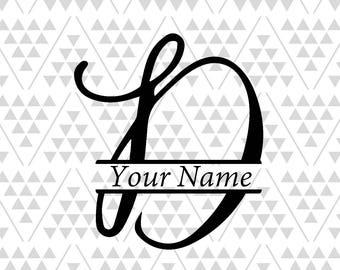 Monogram Letter D Split Silhouette Files Digital Cut Cricut Adobe Illustrator Vector Vinyl