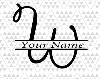 Monogram Letter W Split Svg Vine Letters Font Fancy