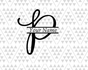 Monogram Letter P Split Svg Vine Font Fancy