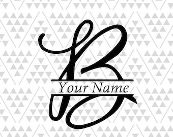 Monogram Letter B Split Silhouette Files Digital Cut Cricut Adobe Illustrator Vector Vinyl