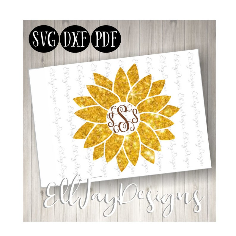 Flower monogram svg, sunflower svg, sunflower cut files, sunflower  monogram, circle middle sunflower svg, circle frame, silhouette cut files