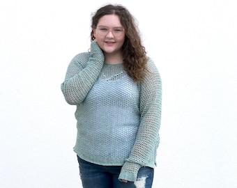 Crochet Pattern, Recline Sweater by Rebecca Velasquez, Women's sizes XS, S, M, L, 1X, 2X, 3X, 4X, 5X