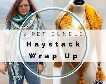 2 Shawl Bundle Crochet Patterns by Rebecca Velasquez - RV Designs, Bulky Yarn, Large Triangular Wraps