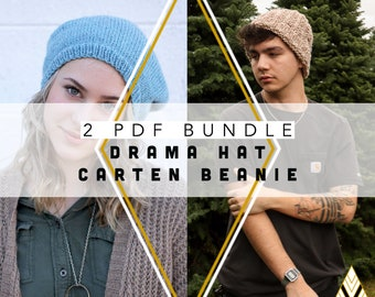 2 Knit Pattern Bundle Drama Hat and Carten Beanie by Rebecca Velasquez - RV Designs