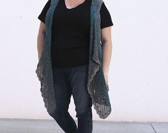 Cascade Falls Crochet Vest Pattern by Rebecca Velasquez – RV Designs, Women's sizes XS, S, M, L, 1X, 2X, 3X, 4X, 5X, Easy Waterfall Front