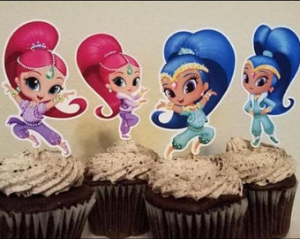 Shimmer and shine  edible cake toppers x 12