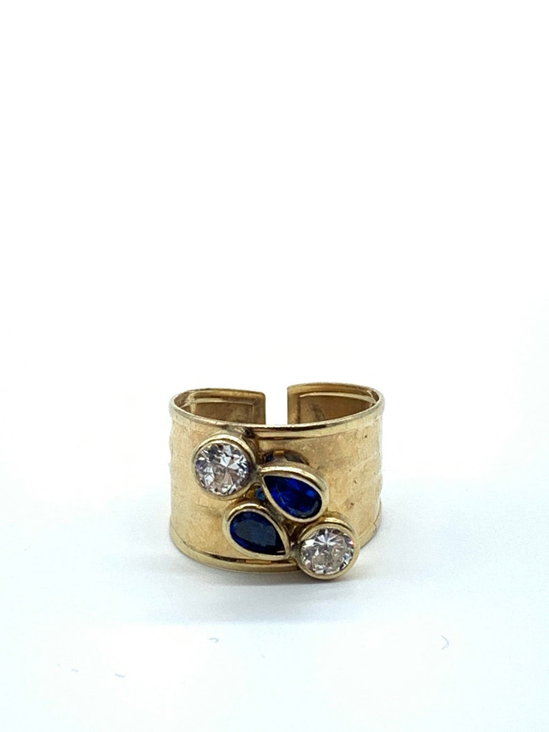 10K Yellow Gold Cubic Zirconia With Blue Sapphire Synthetic Stones Ladies Ring