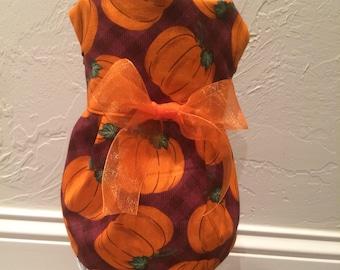 Perfect Plaid Pumpkins Dog Dress Size Small
