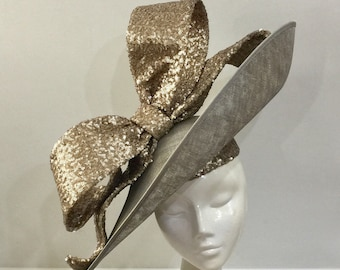 2aab5f26 Bespoke Large Picture Hat with Sequin Picture Bow Wedding Hat Royal Ascot  Races Special Occasion Headwear