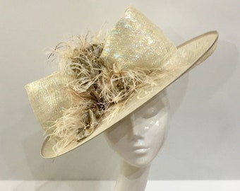 a2863580 Bespoke Gold Sinamay Hat with Fabric Flowers & Ostrich Feather Wedding Hat  Royal Ascot Races Special Occasion Headwear