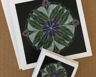 Purple Flower Mandala Card