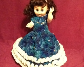 """Beautiful 14"""" Crochet Doll with Stand - Turquoise dazzled with Rhinestones"""