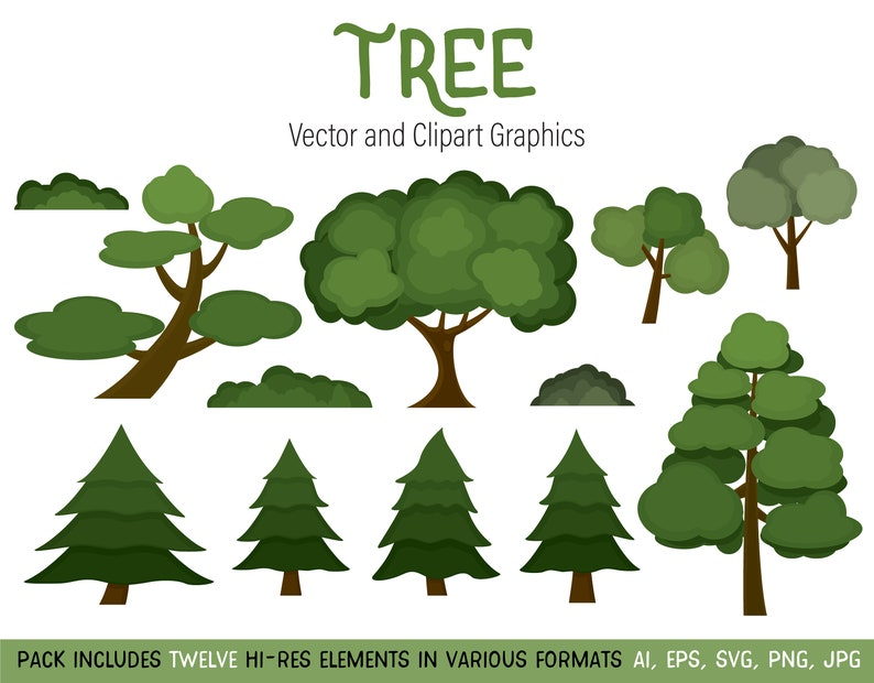 Tree Clipart Image Set Instant Download High Res Jpg Png Etsy