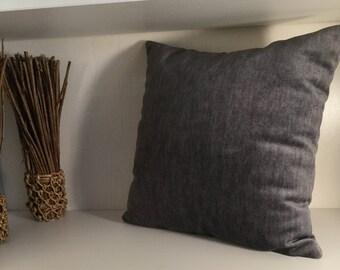 Grey cushion EnchDK silky chenille fabric
