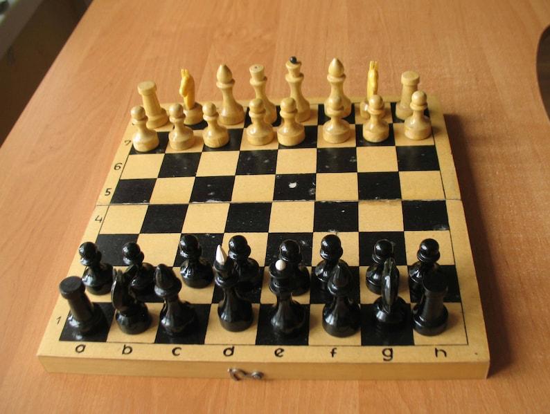 Wooden Chess Vintage Chess set Board game Soviet chess Wood chess Decorative chess Ukrainian style  Ussr chess Soviet chess set Board Games