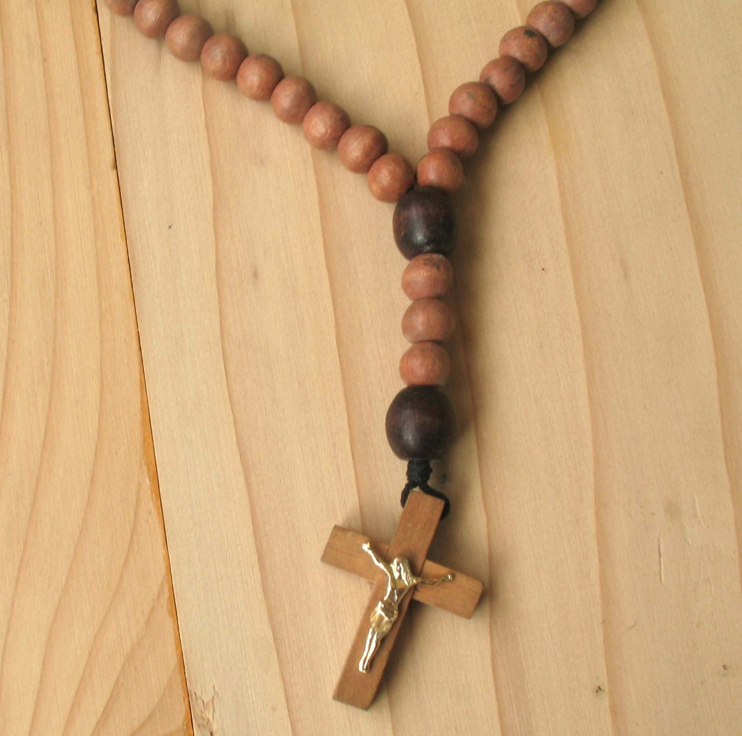 Vintage Wood Rosary Rosary Cross Wooden Cross Wooden Beads Cross Vintage Rosary Vintage Beads Cross Rustic Rosary Beads Rustic Wooden Cross
