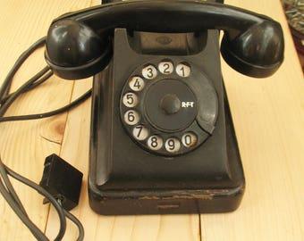 Vintage phone Rotary phone Antique telephone industrial decor Bakelite Dial telephone Desk phone dial Industrial phone Bakelite phone Black