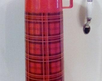Red Plaid Vintage Aladdin Thermos