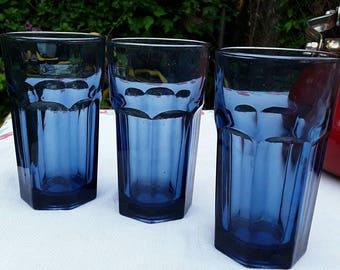 Vintage Cobalt Blue Libbey Juice 8 Oz Glasses Tumblers