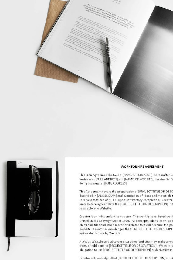 Sample Work For Hire Agreement Work For Hire Template Etsy
