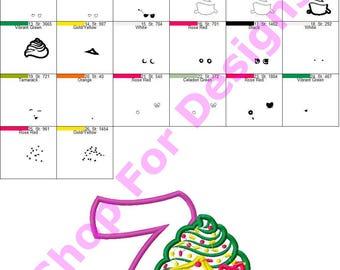 Shopkin Cupcake 7th Birthday Applique Design