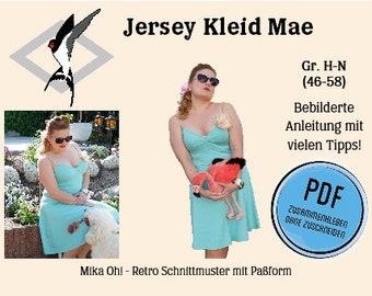 Mae Jersey Kleid – PDF Schnittmuster zum selbst Ausdrucken für Gr. 46-58 und ausführliche, farbig bebilderte Anleitung.