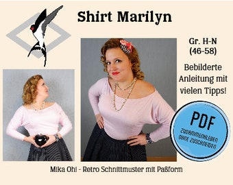 Marilyn Jersey Shirt - PDF Schnittmuster Gr. 46-58