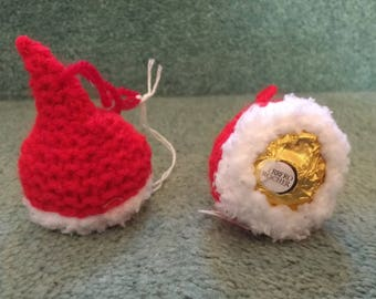 one handmade knitted santa hat Ferrero Rocher tree decoration 2fb147375d5