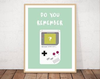 Gameboy art, gameboy print, childhood, games console, game boy console, nintendo, childhood game, vintage game, video game