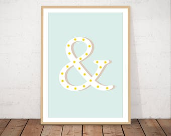 Ampersand wall art, instant download, printable, minimalist art