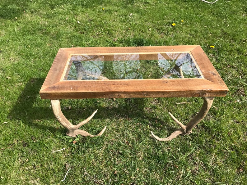 Charmant Glass To Elk Antler Coffee Table