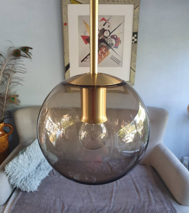 Mid Century design glass hanging lamp touch Amsterdam years 70 Hollywood Regency