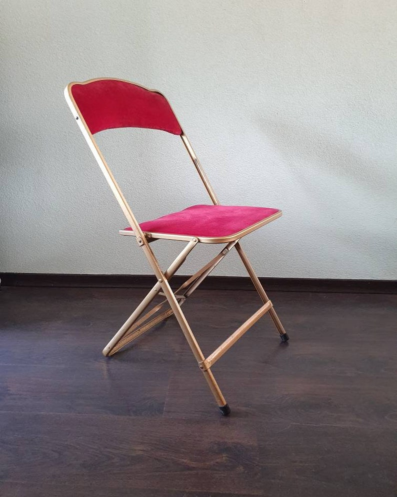 Prime Vintage French Design Metal Theater Folding Chair With Velour Seat And Handrail Years 70 Caraccident5 Cool Chair Designs And Ideas Caraccident5Info