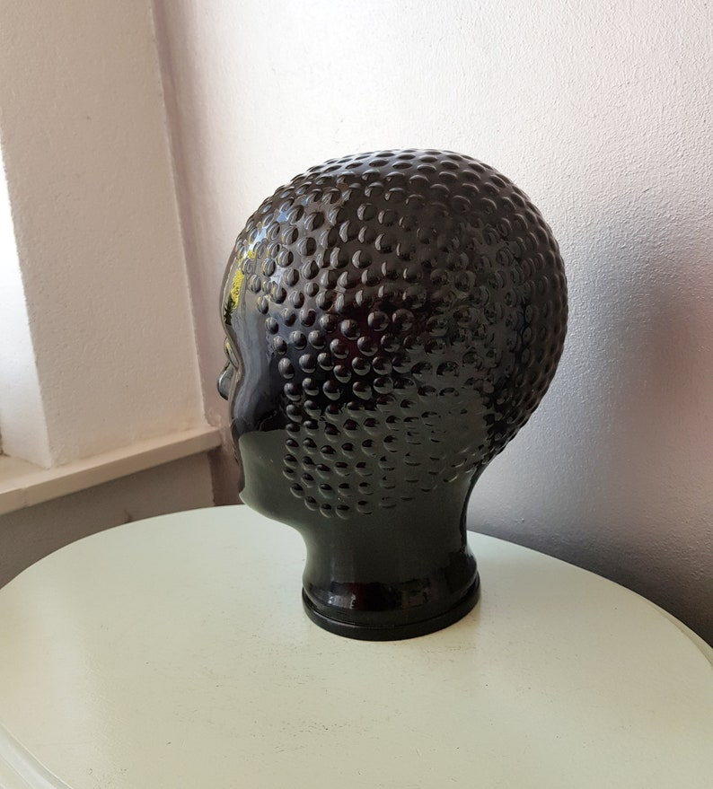 Vintage Black Glass Mannequin headDisplay headmannequin from the years 70