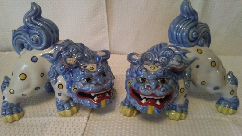 Pair of Vintage Porcelain Foo Dog Statues