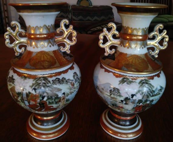 Pair Of Japanese Vases Etsy
