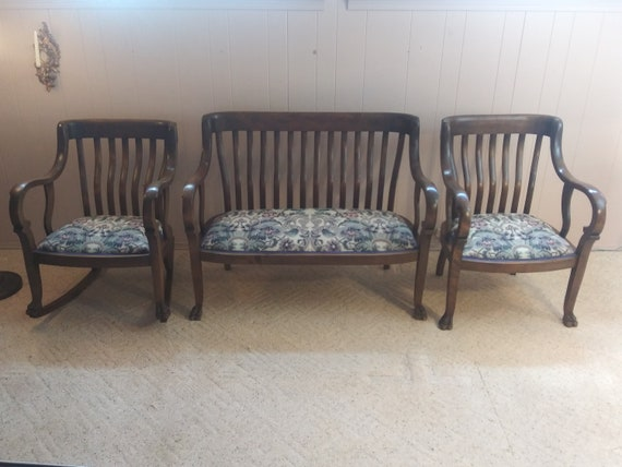 Terrific Antique 1800S American Empire Settee Rocking Chair And Arm Chair Set Caraccident5 Cool Chair Designs And Ideas Caraccident5Info